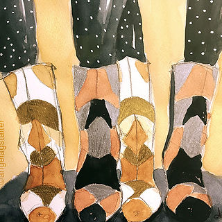 ©angelagstalter fahion illustration, shoes illustration, editorial illustration, boots, watercolour
