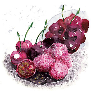 ©angelagstalter cherries, editorial illustration, food illustration, cherry sweets