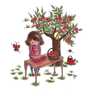 ©angelagstalter kidsillustration, childrensbookillustration, in the garden, peach tree