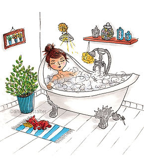 ©angelagstalter , illustration, editorialillustration, bath