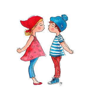 ©angelagstalter kidsillustration, childrensbookillustration, kisses