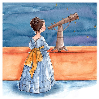 ©angelgstalter kidslitart, childrenillustration, kinderbuchillustration, cute, watercolour illustration, astronomist