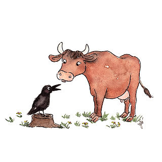 ©angelagstalter , cow and crow illustration, animal illustratio, character design, kidslitart, childrensbookillustration, kinderbuch illustration