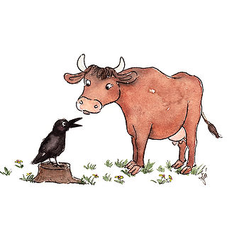©angelagstalter kidsillustration, childrensbookillustration, cow, crow