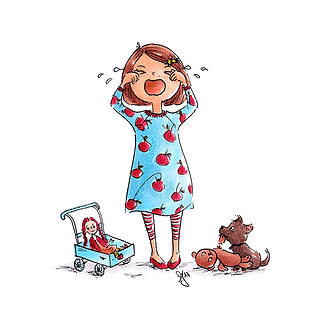 ©angelagstalter kidsillustration, childrensbookillustration, litle crying girl