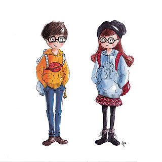 ©angelgstalter kidslitart, childrenillustration, kinderbuchillustration, cute, character design, nerds illustration