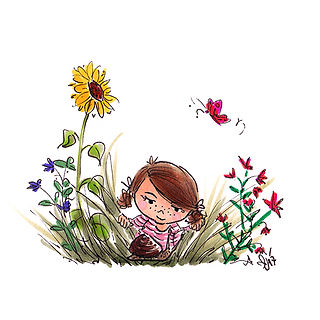 ©angelagstalter  kidsillustration, garden, little girl