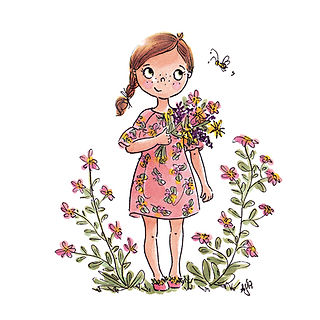 ©angelagstalter  kidsillustration, little girl, flowers