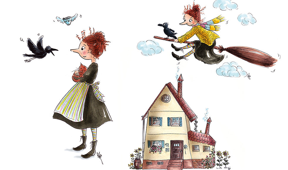 Kinderbuch Illustration, children's book illustration, character design, cute illustration, Kinderbuchillustration, little witch, Hexe Illustration ©angelagstalter