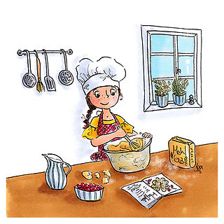 ©angelagstalter kidsillustration, childrensbookillustration, baking girl