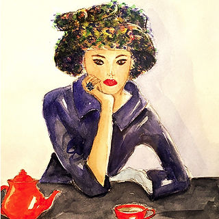 ©angelagstalter fashion illustration, watercolour, editorial illustration, fifties, tea time