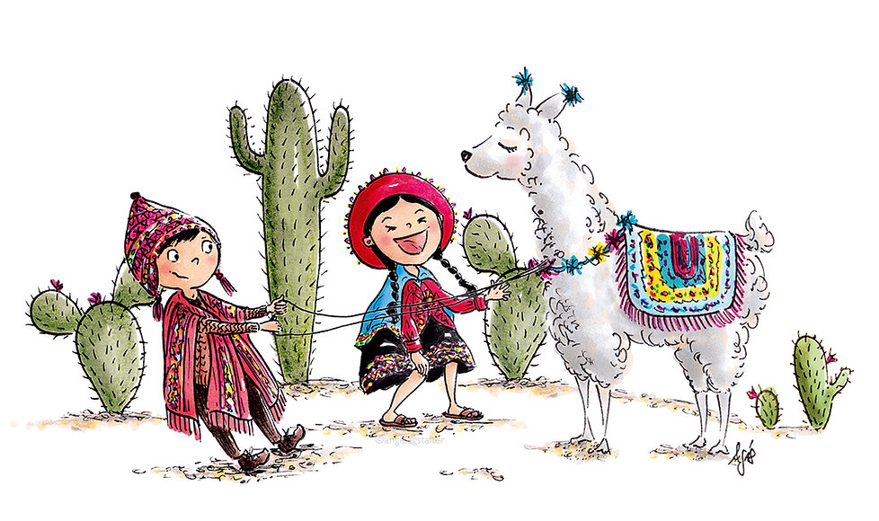 Kinderbuch Illustration, children's book illustration, character design, cute illustration, Kinderbuchillustration, lama illustration ©angelagstalter