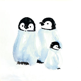 ©angelagstalter , penguins, penguin illustration, watercolour illustration, penguin family