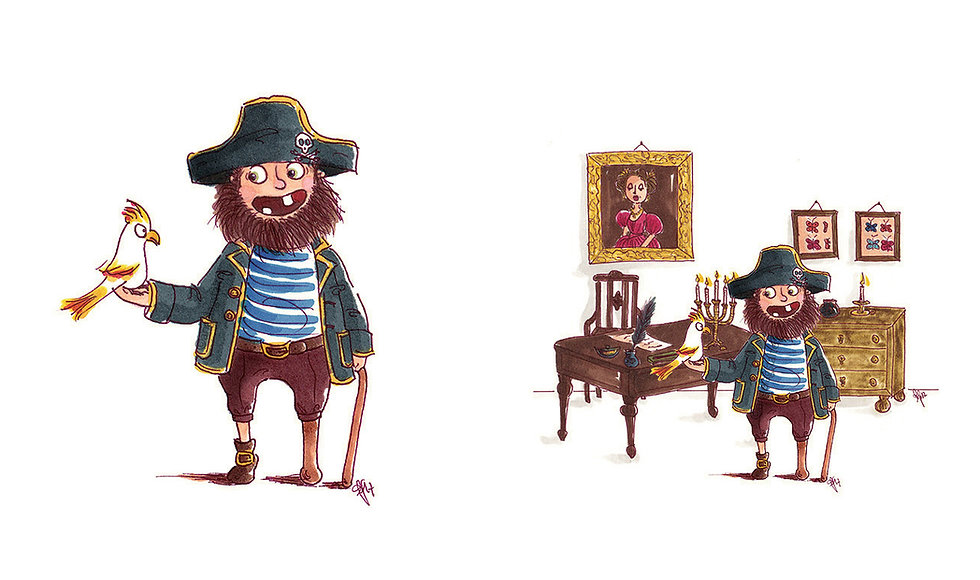 Kinderbuchillustration, Children's book illustration, cute, character design, colourful, niedlich, pirate, Pirat