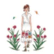 ©angelagstalter , fashion illustration, editorial illustration, flower dress