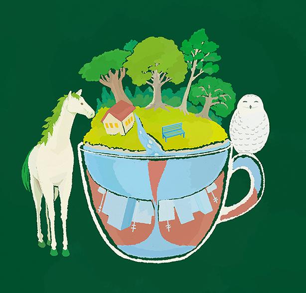 木と町のカップ