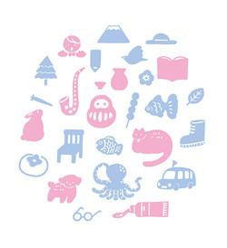 ピンクと青のアイコン