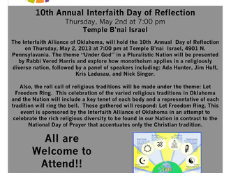 10th Annual Interfaith Day of Reflection