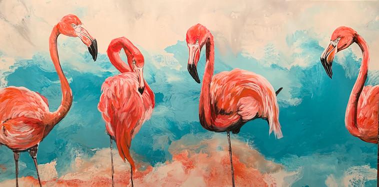Four Flamingos 36x60