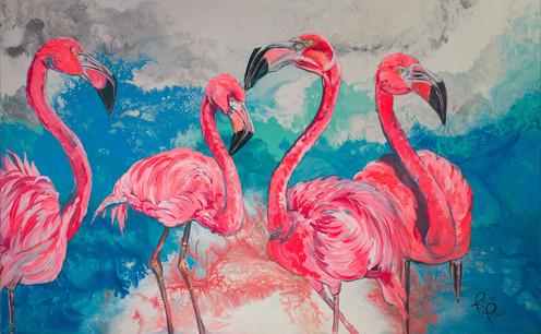 Four Flamingos on the Beach.jpg
