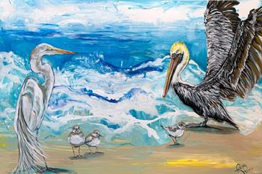 Birds Beachin' it