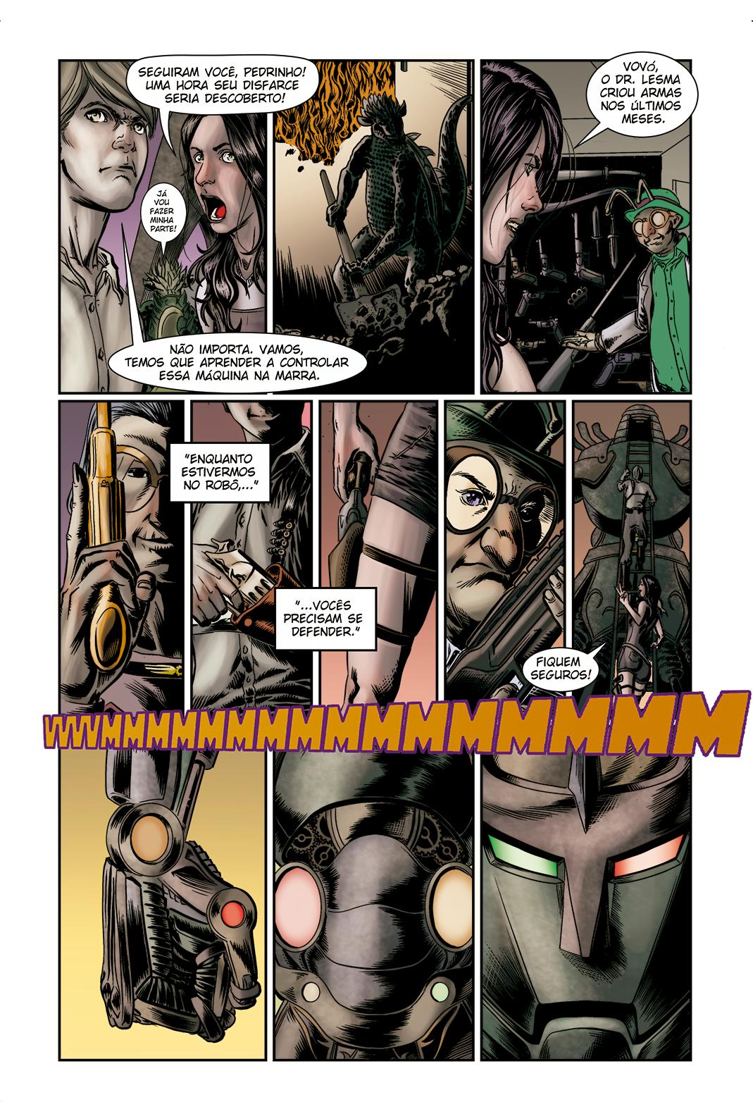 """Página 6 de """"E.M.1 L 1.4"""", da antologia RANCHO DO CORVO DOURADO, de 2019. Linhas e colorização."""