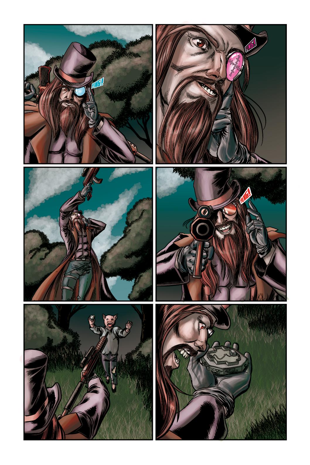 """Página 5 de """"O Nobre e o Rifle"""", da antologia RANCHO DO CORVO DOURADO, de 2019. Linhas e colorização"""