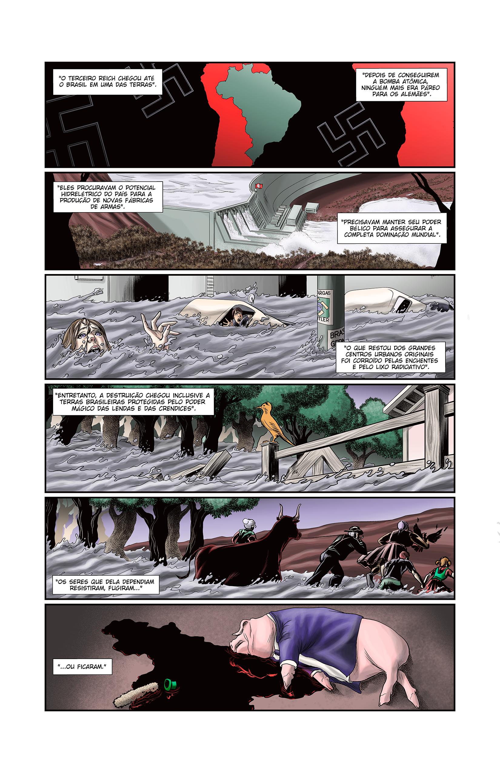 Página da história de introdução da antologia O RANCHO DO CORVO DOURADO.