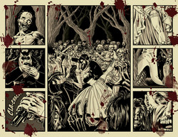 Convite de casamento com temática de apocalipse zumbi.