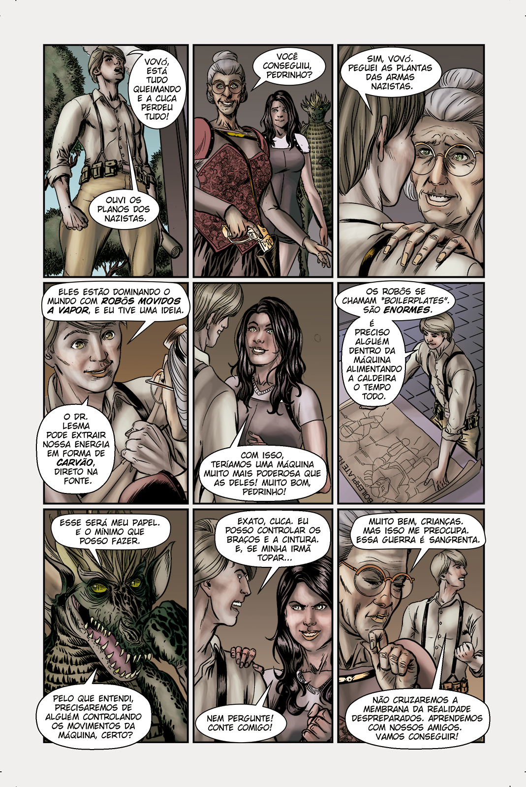 """Página 4 de """"E.M.1 L 1.4"""", da antologia RANCHO DO CORVO DOURADO, de 2019. Linhas e colorização."""