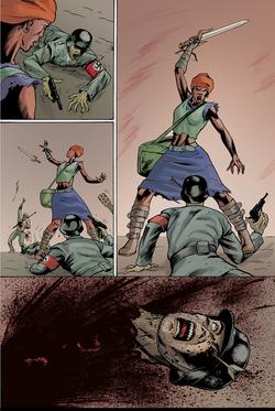"""Página 8 de """"Liberdade Para o Futuro"""", da antologia RANCHO DO CORVO DOURADO, de 2019. Colorização."""