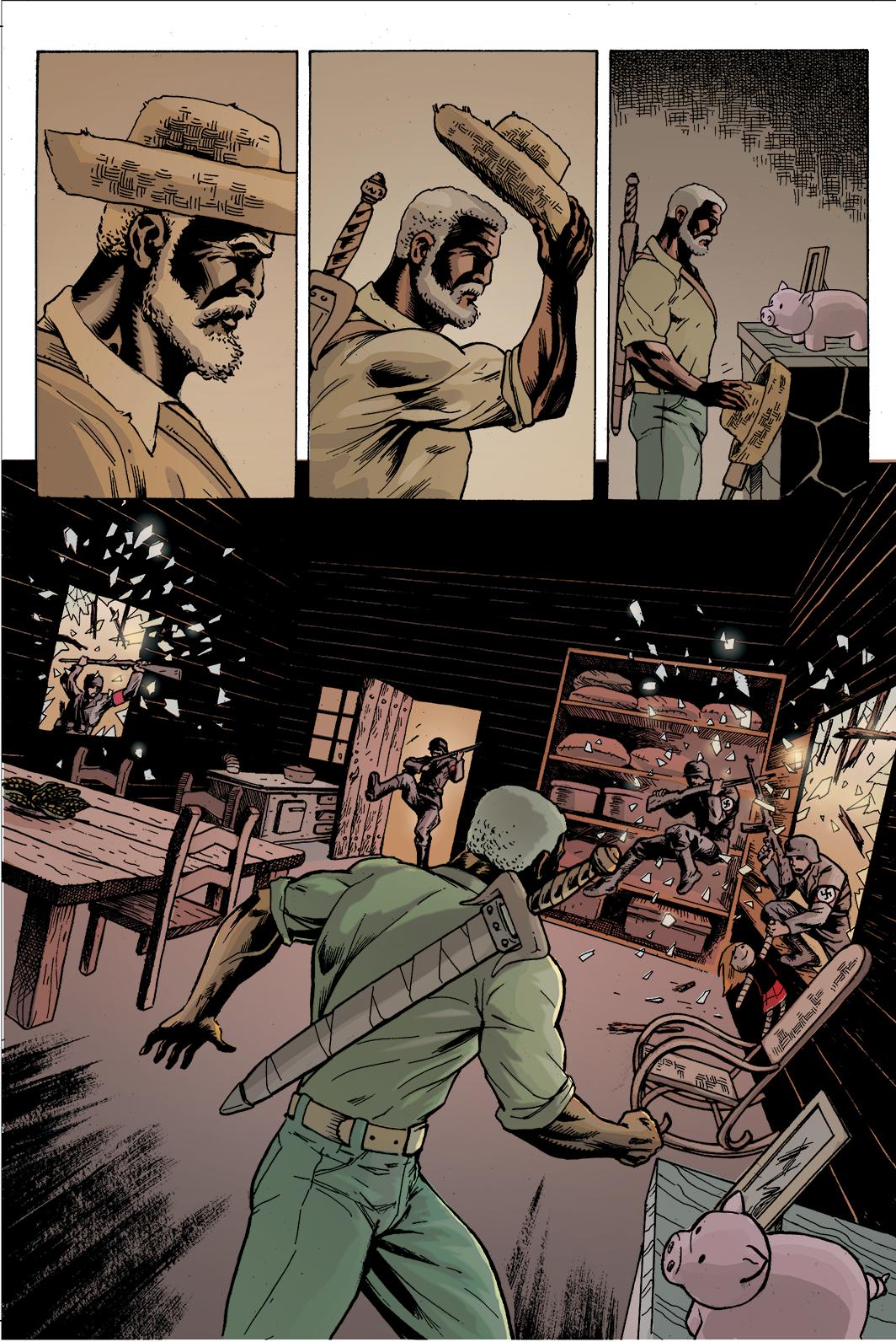 """Página 4 de """"Liberdade Para o Futuro"""", da antologia RANCHO DO CORVO DOURADO, de 2019. Colorização."""