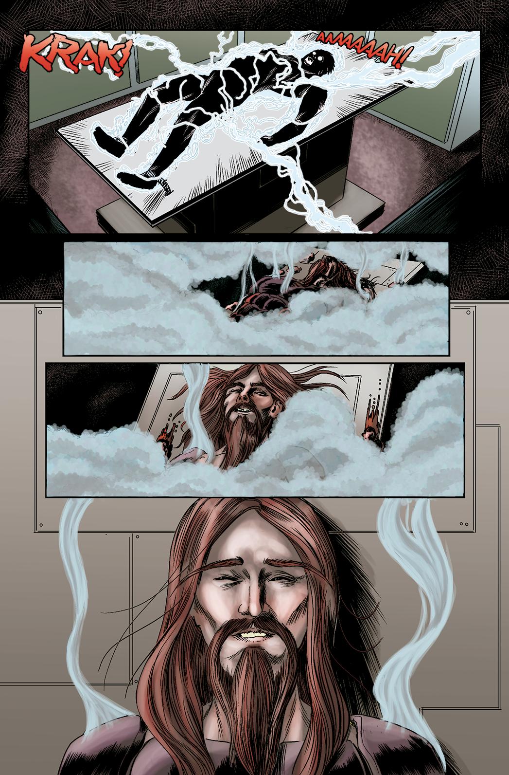 """Página 10 de """"O Nobre e o Rifle"""", da antologia RANCHO DO CORVO DOURADO, de 2019. Linhas e colorizaçã"""