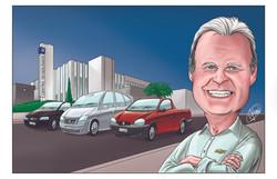 Caricatura de Funcionário da General Motors para sua festa de aposentadoria.