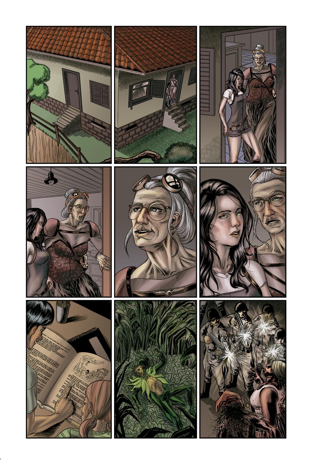 """Página 2 de """"E.M.1 L 1.4"""", da antologia RANCHO DO CORVO DOURADO, de 2019. Linhas e colorização."""