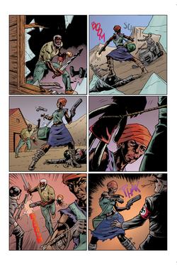 """Página 6 de """"Liberdade Para o Futuro"""", da antologia RANCHO DO CORVO DOURADO, de 2019. Colorização."""