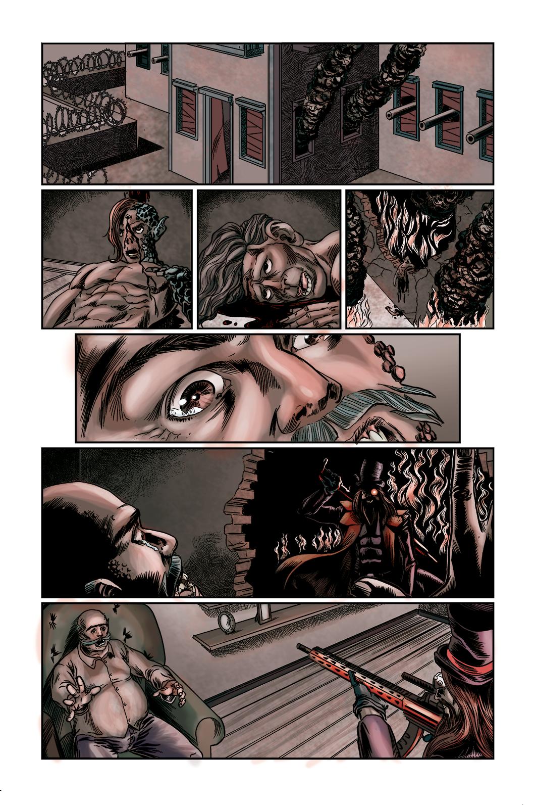 """Página 7 de """"O Nobre e o Rifle"""", da antologia RANCHO DO CORVO DOURADO, de 2019. Linhas e colorização"""