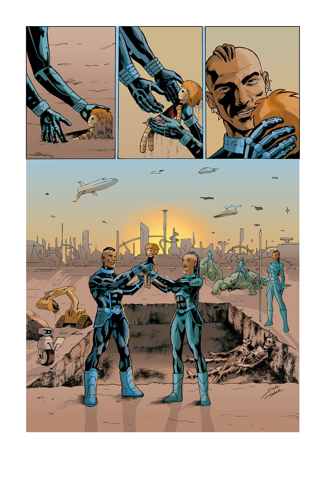 """Página 10 de """"Liberdade Para o Futuro"""", da antologia RANCHO DO CORVO DOURADO, de 2019. Colorização."""