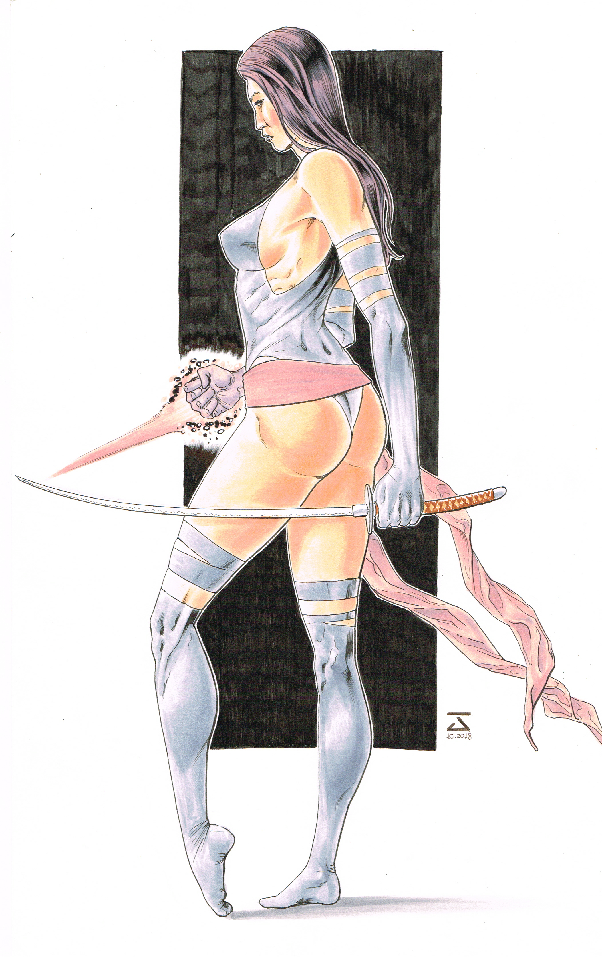 Psylocke - Watercolor and Ink