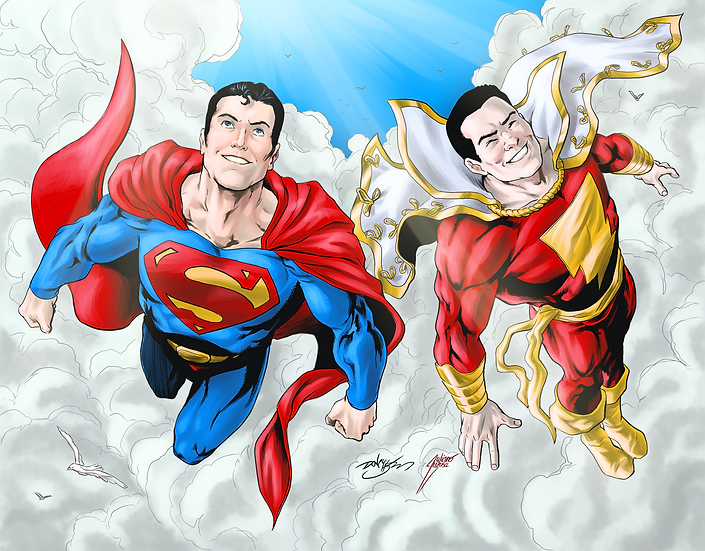 Print Superman & Shazam A4 (8,5In X 17In) . NUMERADO - - - - -NUMBERED  51 - 100