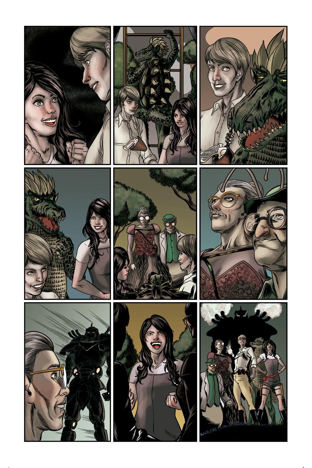 """Página 10 de """"E.M.1 L 1.4"""", da antologia RANCHO DO CORVO DOURADO, de 2019. Linhas e colorização."""