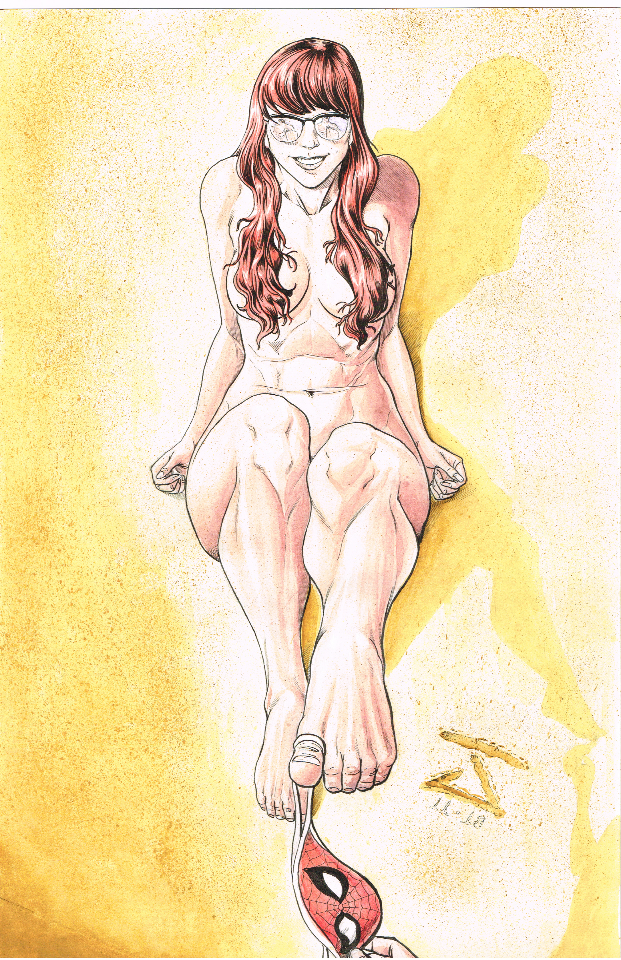 Nude Mary Jane - Watercolor and Ink
