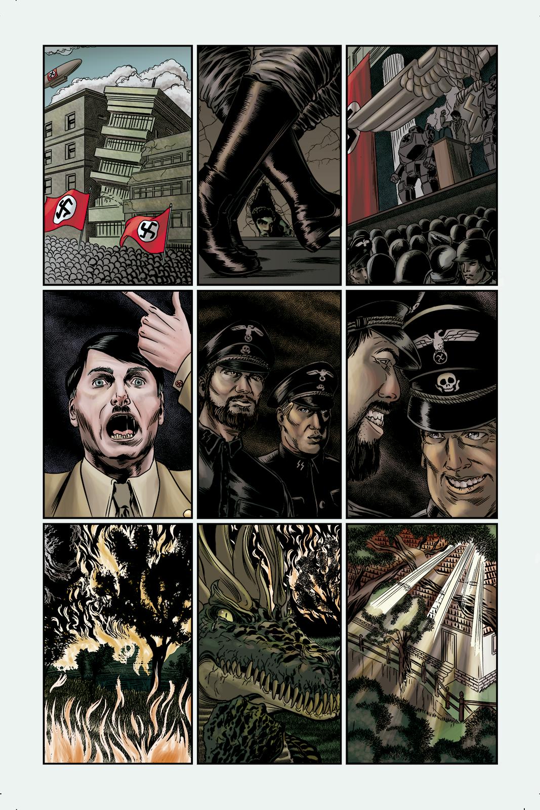 """Página 1 de """"E.M.1 L 1.4"""", da antologia RANCHO DO CORVO DOURADO, de 2019. Linhas e colorização."""