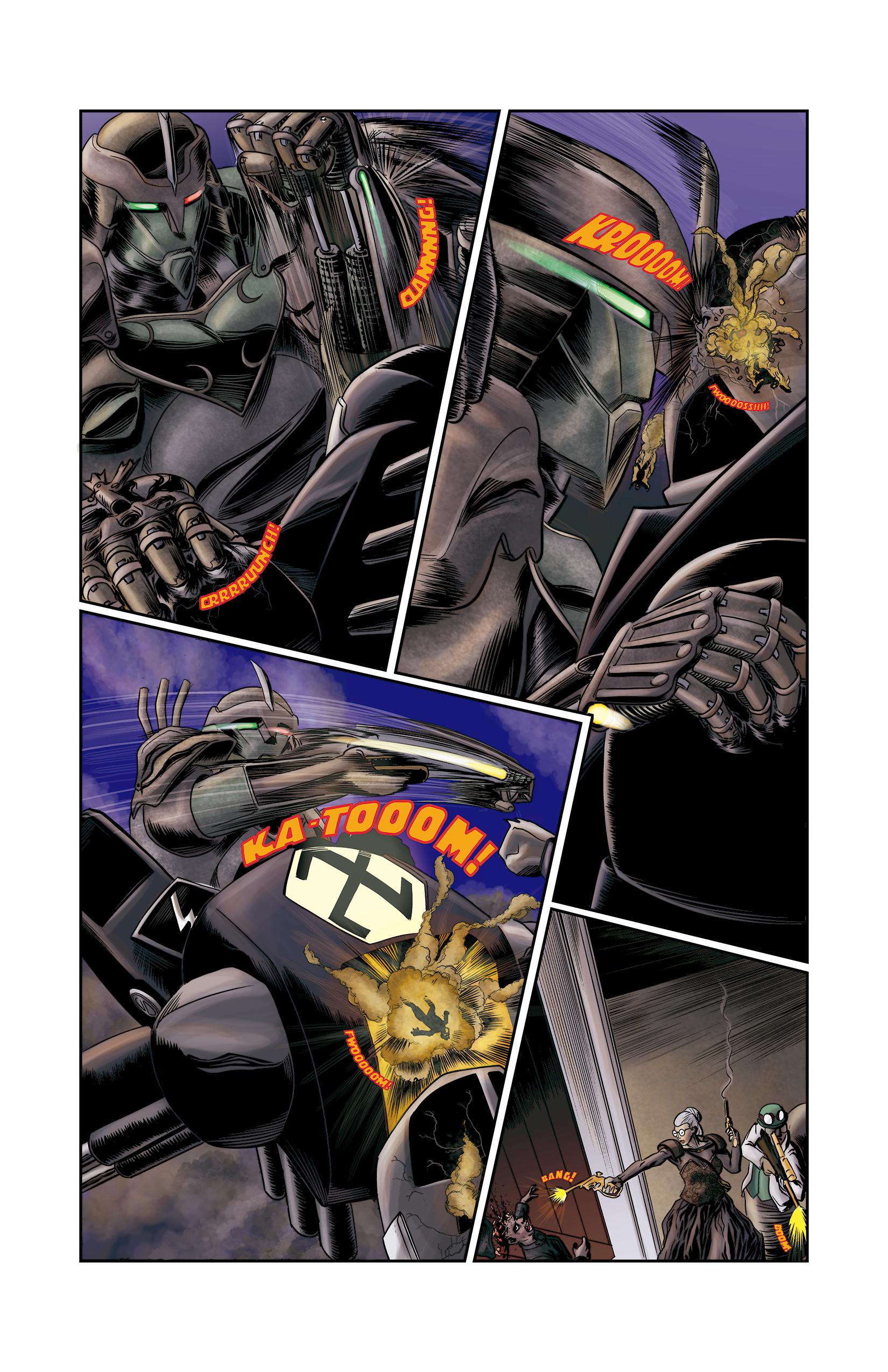 """Página 9 de """"E.M.1 L 1.4"""", da antologia RANCHO DO CORVO DOURADO, de 2019. Linhas e colorização."""