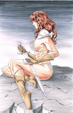 Red Sonja Watercolor and Ink Illustration