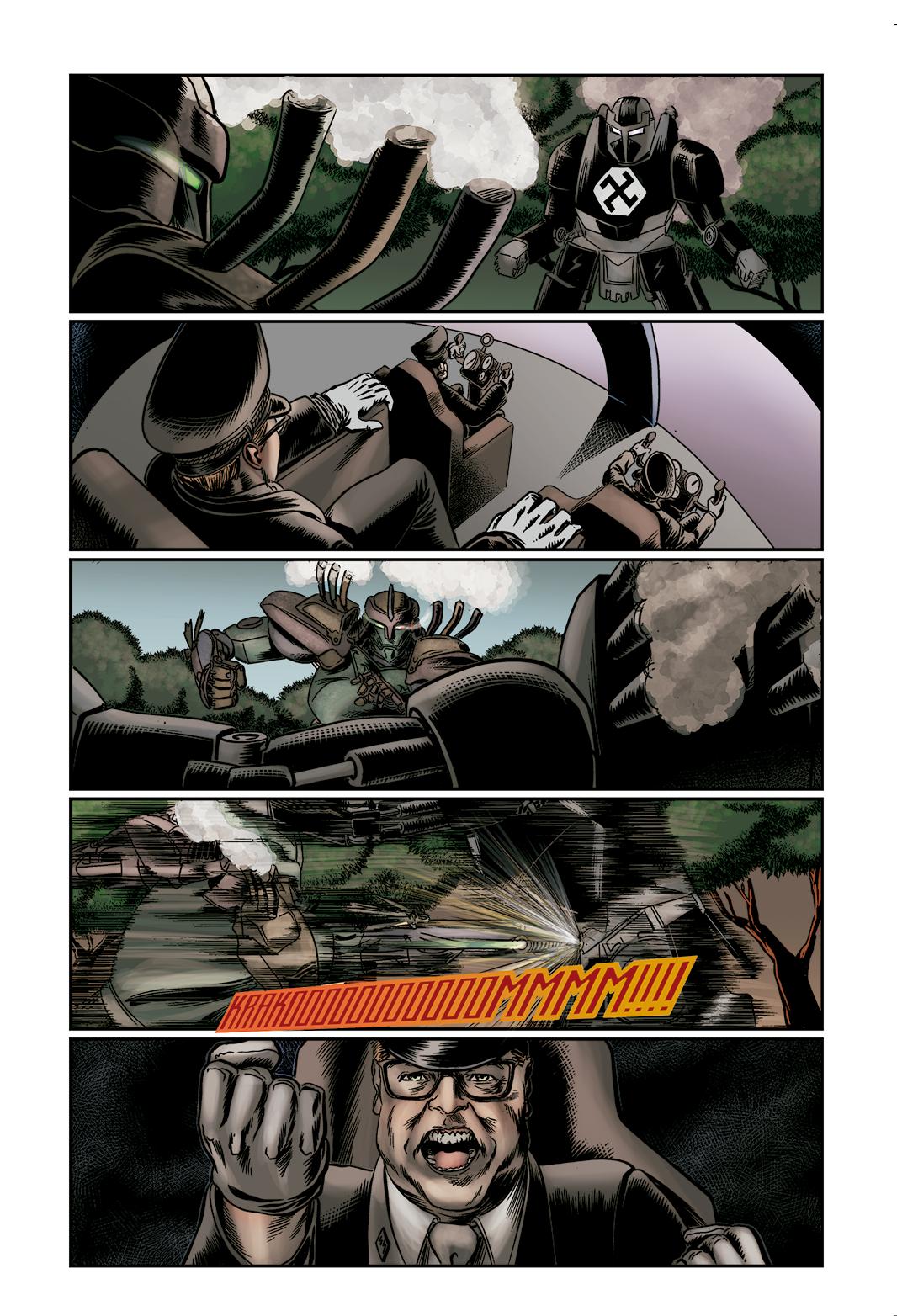 """Página 8 de """"E.M.1 L 1.4"""", da antologia RANCHO DO CORVO DOURADO, de 2019. Linhas e colorização."""