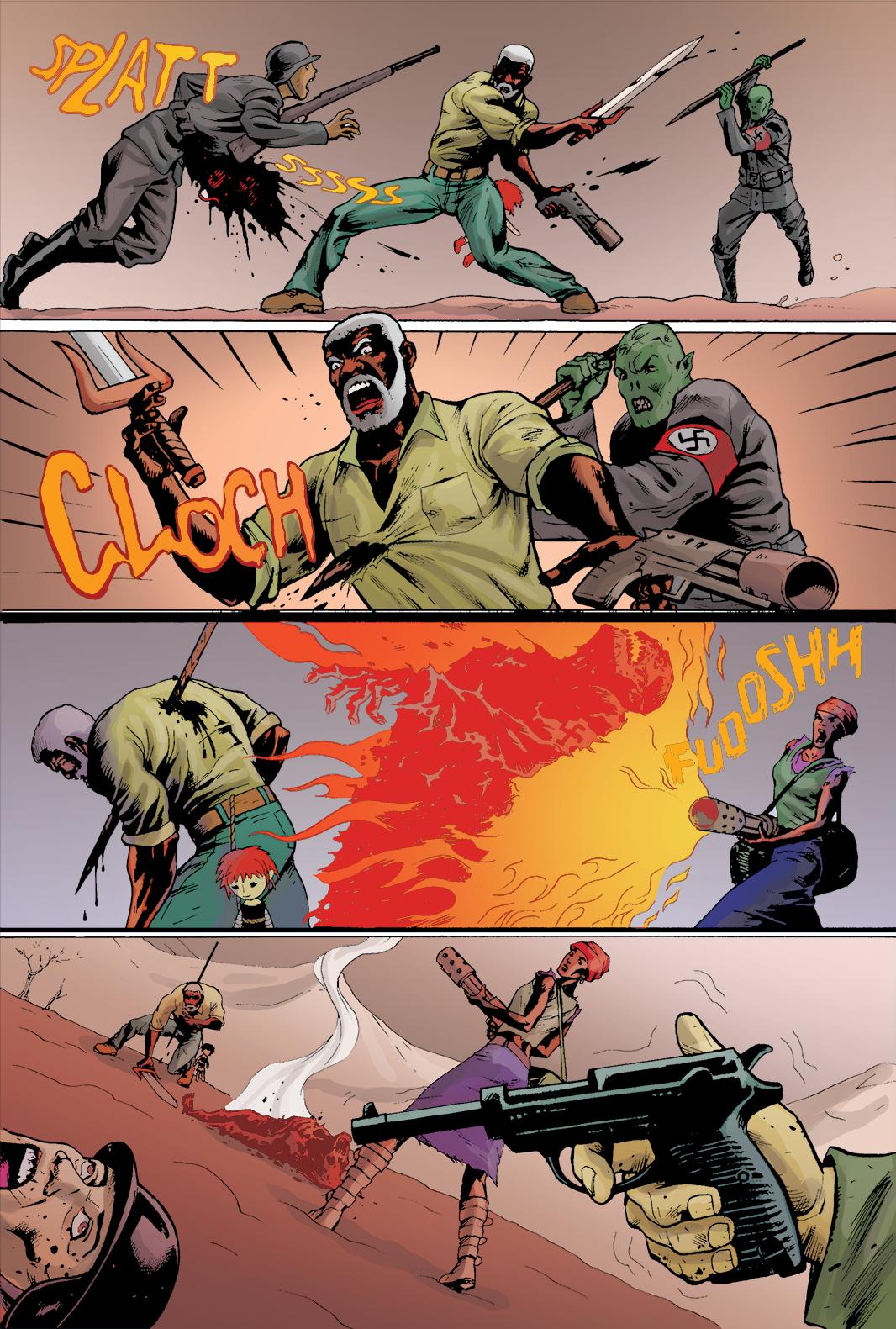 """Página 7 de """"Liberdade Para o Futuro"""", da antologia RANCHO DO CORVO DOURADO, de 2019. Colorização."""