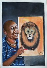 Self-portrait of Kennedy Nganga posing with a painting of a lion