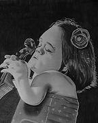Portrait of Gaelynn Lea playing the violin. Created by Mariusz Kedzierski.
