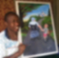Picture of Kennedy Nganga with one of his paintings. The painting is of a man in a wheelchair holding a child's hand.